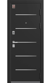Входная дверь LUX-2 черный муар-софт ясень белый (Центурион)