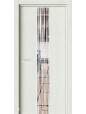 Межкомнатная дверь Экзотика 6 Капучино (Зеркало с рисунком Дождь)