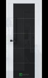 Межкомнатная дверь E7 Белый глянец (Черный лакобель) (ESTET)
