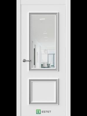 Межкомнатная дверь ERA-4 Айс Зеркало (багет серебро) (ESTET)