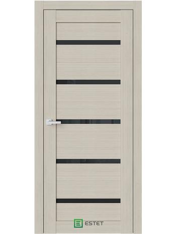 Межкомнатная дверь R1 Капучино (Черный лакобель) (ESTET)