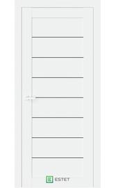 Межкомнатная дверь R48 Белый глянец (Черный лакобель) (ESTET)