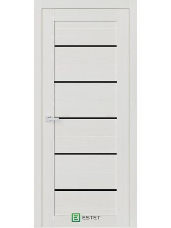 Межкомнатная дверь R6 Ясень жемчуг (Черный лакобель) (ESTET)