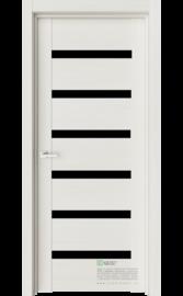 Межкомнатная дверь Т3 Ясень жемчуг (Черный лакобель) (ESTET)