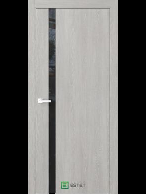 Межкомнатная дверь Стиль-1 Дуб серый (Черный триплекс) (ESTET)