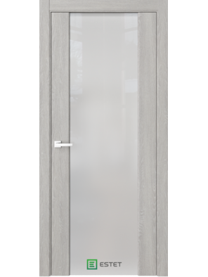 Межкомнатная дверь Стиль полное Дуб серый (Белый триплекс) (ESTET)