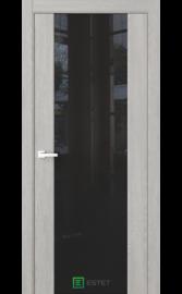 Межкомнатная дверь Стиль полное Дуб серый (Черный триплекс) (ESTET)