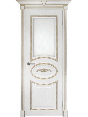 Межкомнатная дверь ПО Валенсия Жемчуг с патиной (Дубрава Сибирь)