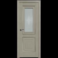 Межкомнатная дверь 28Х Эш Вайт стекло 4мм узор графит (Profil Doors)
