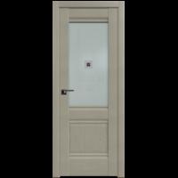 Межкомнатная дверь 2Х Эш Вайт стекло матовое коричневый фьюзинг (Profil Doors)