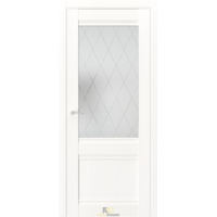 Межкомнатная дверь QS2 Лиственница белая (белый сатинат с гравировкой)