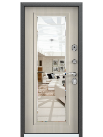 Входная дверь DELTA 10 M Зеркало Перламутр белый (TOREX)